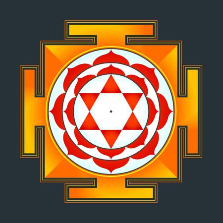 hinduismo: vector de color hinduismo Bhuvaneshwari yantra Prakriti ilustración de un diagrama sagrado aislado en el fondo negro Vectores