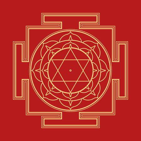 sri yantra: vector gold outline hinduism Bhuvaneshwari yantra Prakriti illustration sacred diagram isolated on red background