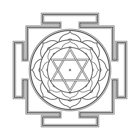 ベクトル黒アウトライン ヒンズー教 Bhuvaneshwari ヤントラのプラクリティ説明が神聖な図に白い背景で隔離