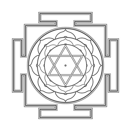 vector black outline hinduism Bhuvaneshwari yantra Prakriti illustration sacred diagram isolated on white background