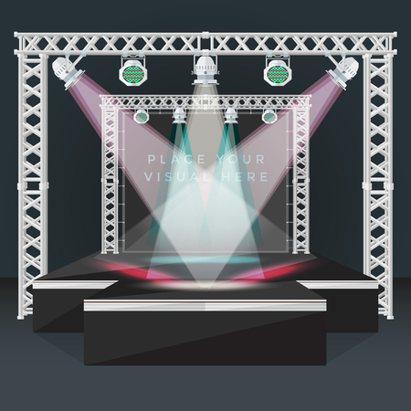 podium: vector black color flat design high empty fashion podium stage metal truss banner back moving light heads rgb led devices night event background isolated illustration Illustration