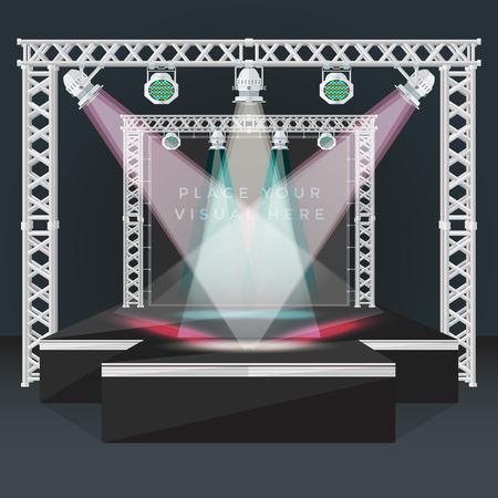 vector de color negro de diseño plano de alta podio de la moda fase metálica armadura bandera vacía volver cabezas móviles de iluminación LED RGB dispositivos aislados evento de la noche ilustración de fondo Ilustración de vector