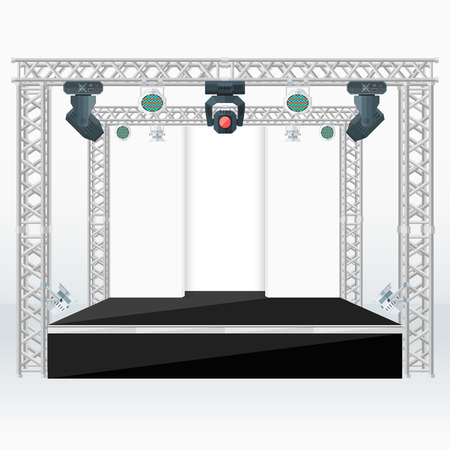vector black color flat design high stage metal truss back scenes moving light heads rgb par led devices light background isolated illustration