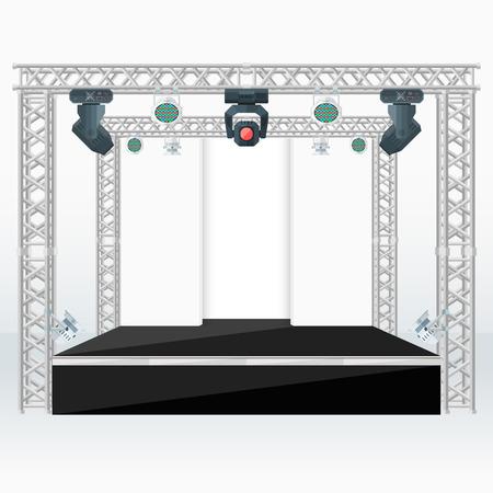 truss: vector black color flat design high stage metal truss back scenes moving light heads rgb par led devices light background isolated illustration