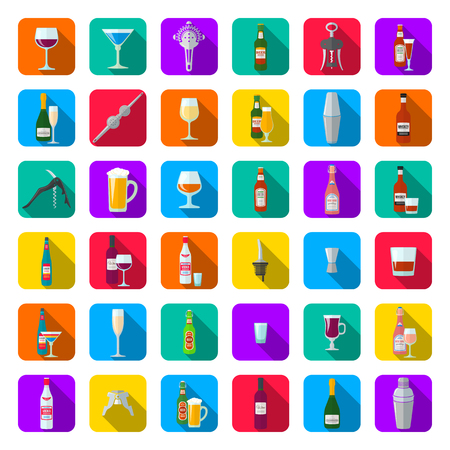 vector colorful flat design long shadows various alcohol bottles glasses and barmen equipment rounded square icon set isolated on white background