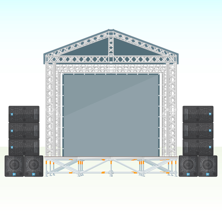 loud   speakers: vector flat style sectional precast concert metal roofed stage with satellite subwoofers loud speakers system isolated light outdoor empty banner background Illustration