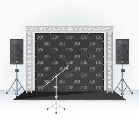 loud   speakers: vector black color flat style low conference stage press wall banner metal truss loud speakers microphone stand isolated light background Illustration