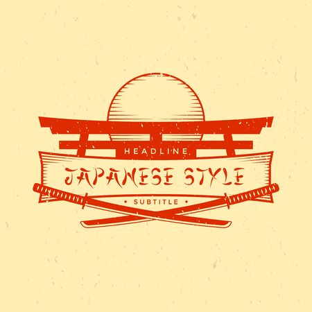 vector red color japan style vintage sign logo banner with boken katanas grange textured isolated illustration