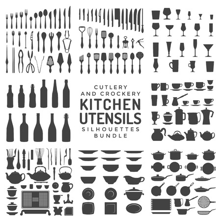 crockery: vector black color various kitchen utensils silverware dishware crockery and cutlery tools isolated collection on white background