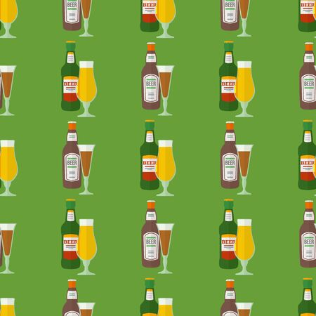dark beer: vector colored flat design light and dark beer bottles glasses seamless pattern on green background