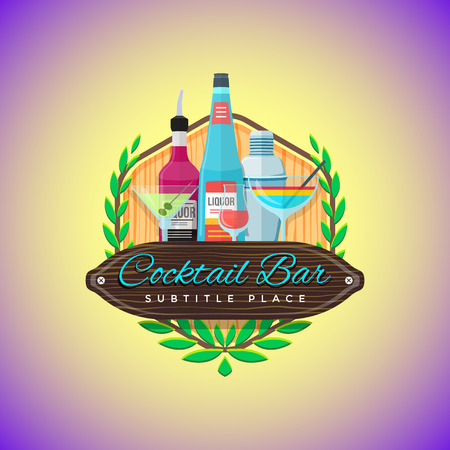 barmen: vector colorful flat design cocktail bar sign template with liquor bottles, cocktail glasses and barmen shaker on wood textured board yellow violet background Illustration