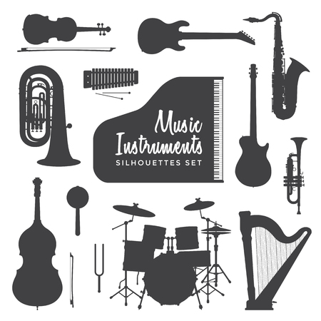 vector black color various music instruments silhouettes set isolated on white background