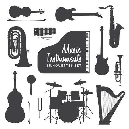 Vektor schwarze Farbe verschiedene Musikinstrumente Silhouetten Set isoliert auf weißem Hintergrund
