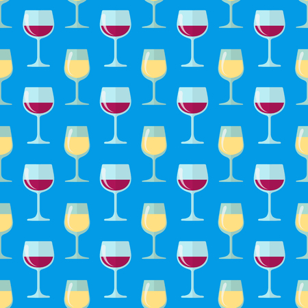 vector colored flat design white and red wine glasses seamless pattern on blue background Illustration