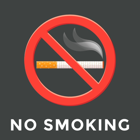 abstain: vector colored flat design no smoking warning sign isolated sticker illustration on dark background