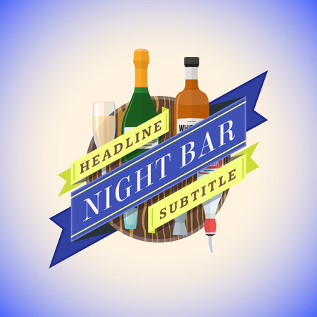 night bar: vector colorful flat design night bar sign template with champagne, whiskey, vodka bottles and various glasses on wood textured board teal blue background