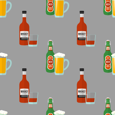 vector colored flat design light beer and whiskey bottles glasses seamless pattern on gray background Illustration
