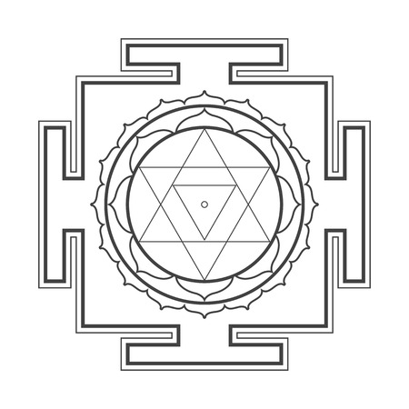 cosmology: vector black outline hinduism  Baglamukhi maha yantra illustration cosmology sacred diagram isolated on white background