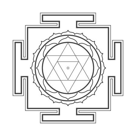 sri yantra: vector black outline hinduism  Baglamukhi maha yantra illustration cosmology sacred diagram isolated on white background