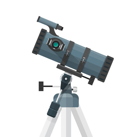 ocular: vector colorful flat design mirrors system reflector telescope on equatorial mount illustration isolated on white background Illustration