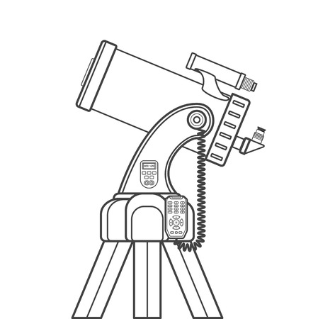 eyepiece: vector black color contour lenses and mirrors system catadioptric telescope on electronic fork dobsonian mount technical illustration isolated on white background Illustration