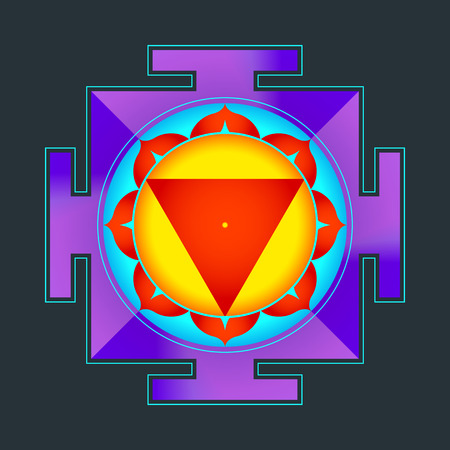 cosmology: vector colored hinduism Mahavidya Tara yantra illustration sacred cosmology diagram isolated on black background