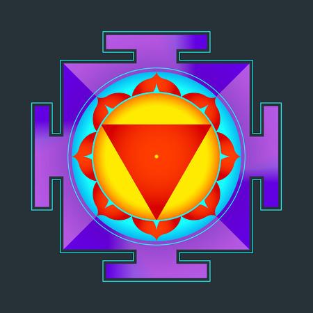 hinduismo: vector de color hinduismo Mahavidya Tara Yantra ilustración de un diagrama cosmología sagrada aislado en el fondo negro Vectores