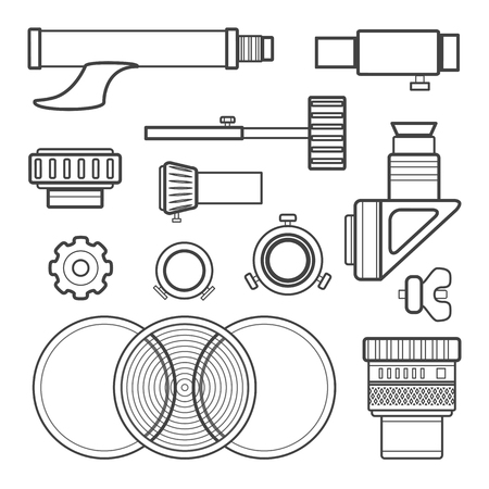eyepiece: vector black color contour telescope accessories, Barlow lenses, oculars, adapters and various tools  technical illustration set isolated on white background