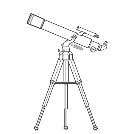eyepiece: vector black color contour lenses system refractor telescope on altazimuth mount technical illustration isolated on white background Illustration