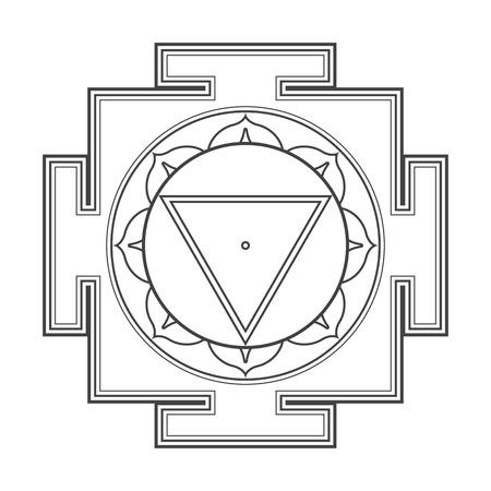 ベクトル黒アウトライン ヒンズー教 Mahavidya タラ ヤントラ説明宇宙神聖な図白い背景に分離