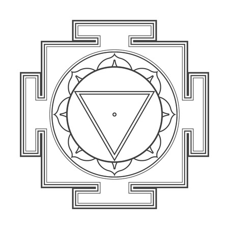 cosmology: vector black outline hinduism Mahavidya Tara yantra illustration cosmology sacred diagram isolated on white background