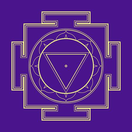 hinduism: vector esquema del oro hinduismo Mahavidya Tara Yantra ilustraci�n de un diagrama cosmolog�a sagrada aislado en el fondo violeta Vectores