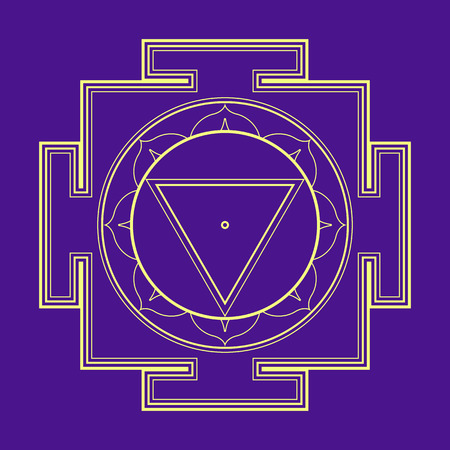 cosmology: vector gold outline hinduism Mahavidya Tara yantra illustration sacred cosmology diagram isolated on violet background