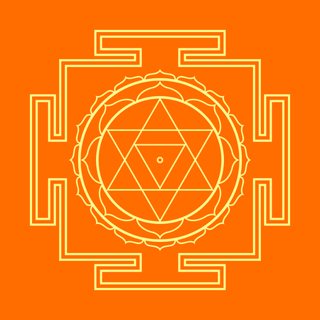 cosmology: vector gold outline hinduism Baglamukhi maha yantra illustration sacred cosmology diagram isolated on orange background