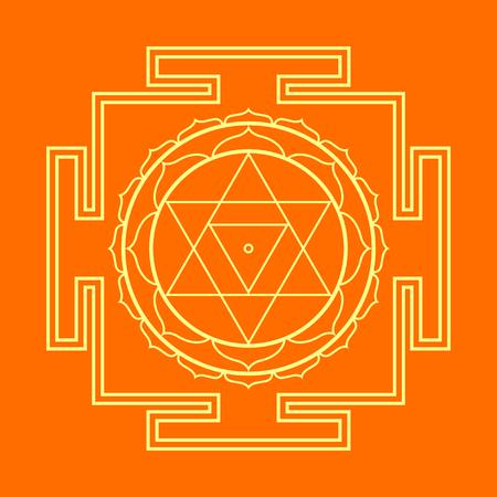 sri yantra: vector gold outline hinduism Baglamukhi maha yantra illustration sacred cosmology diagram isolated on orange background