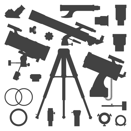 eyepiece: vector black monochrome astronomy and telescope tools and devices silhouette set isolated on white background Illustration