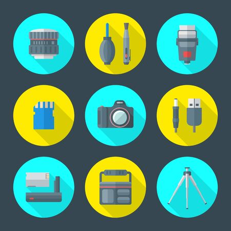 lens brush: vector colorful flat design various photography icons with lens, cleaning tools, flash bulb, memory card, digital camera, connectors, battery, protection bag and tripod round icons with long shadows set Illustration
