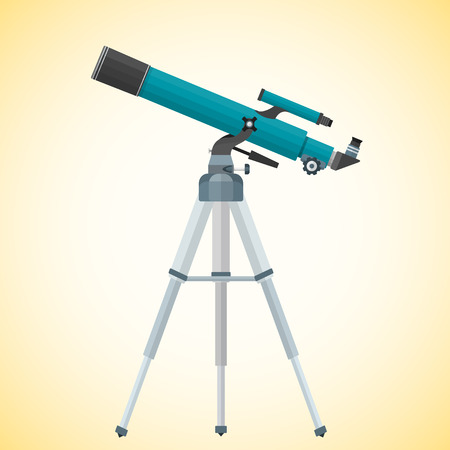 eyepiece: vector colorful flat design lenses system refractor telescope on altazimuth mount illustration isolated on light background