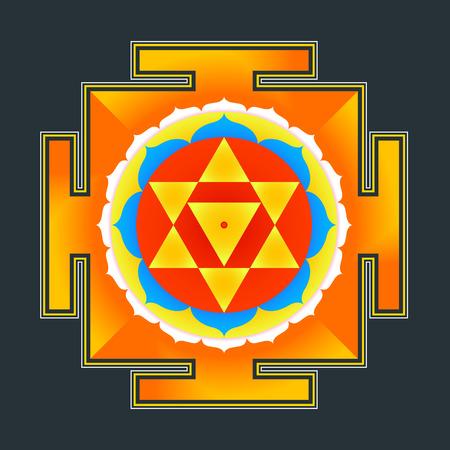 vector colored hinduism Baglamukhi maha yantra illustration sacred cosmology diagram isolated on black background Illustration