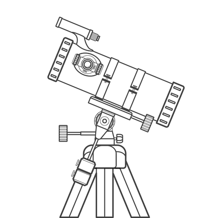 eyepiece: vector black color contour mirrors system reflector telescope on equatorial mount technical illustration isolated on white background