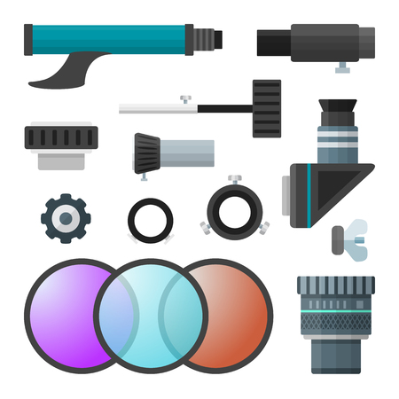 ocular: vector colorful flat design telescope accessories, Barlow lenses, oculars, adapters and various tools  illustration set isolated on white background