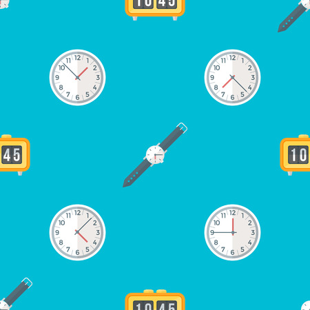wall watch: vector colorful flat design various clock mens watches flip watch wall watch deco seamless pattern blue background
