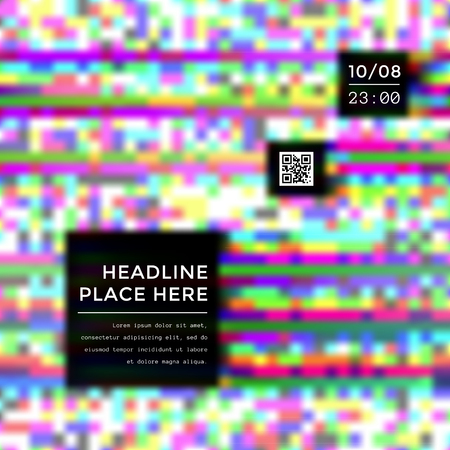 vibrant color: vector vibrant color abstract digital glitch art square flyer qr code poster banner template