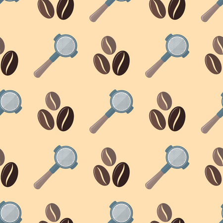 measuring cup: vector colorful flat design various brown coffee beans portafilter device deco seamless pattern beige background