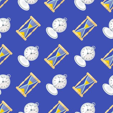 sand watch: vector colorful flat design various clock sand watch retro pocket watches deco seamless pattern blue background