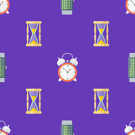 sand watch: vector colorful flat design various clock sand watch retro alarm bell watches binary hand watches deco seamless pattern violet background