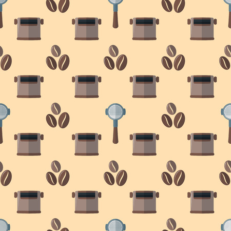 knock: vector colorful flat design various brown coffee beans portafilter device knock box deco seamless pattern beige background Illustration