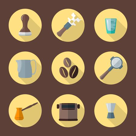 barista: vector colorful flat design coffee barista equipment tools espresso tamper, coffee wrench, measuring glass, pitcher, coffee beans, filter holder, funnel, knockbox, turk round icons isolated brown background