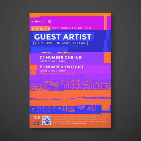 vibrant color: vector vibrant color abstract digital glitch art vertical flyer poster banner template