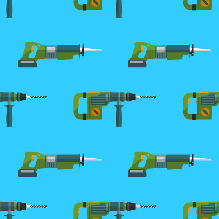 remodel: vector colorful flat design hammer rotary drill and reciprocating saw devices electrical instruments tools home remodel decoration seamless pattern background